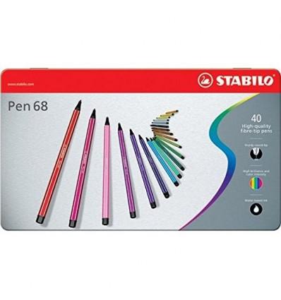 Set Pen 68 40/pz in Scatola di Metallo Stabilo