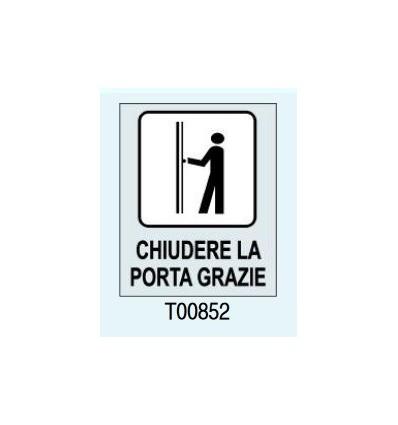 """Targhetta Adesiva """"Chiudere la porta grazie"""" T00852 Letterfix"""