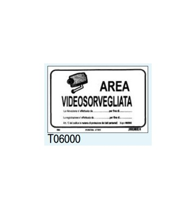 "Targa Segnaletica ""Area Videosorvegliata"" T06000 Letterfix"