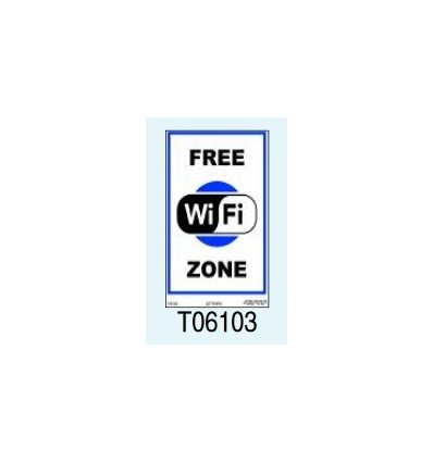 "Targa Segnaletica ""Free Wifi Zone"" T06103 Letterfix"