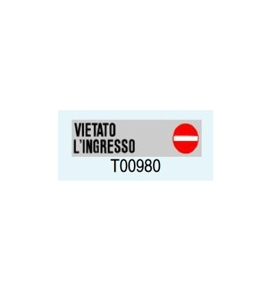 "Targa Adesiva ""Vietato l'Ingresso"" T00980 Letterfix"