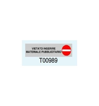 """Targa Adesiva """"Vietato inserire materiale pubblicitario"""" T00989 Letterfix"""